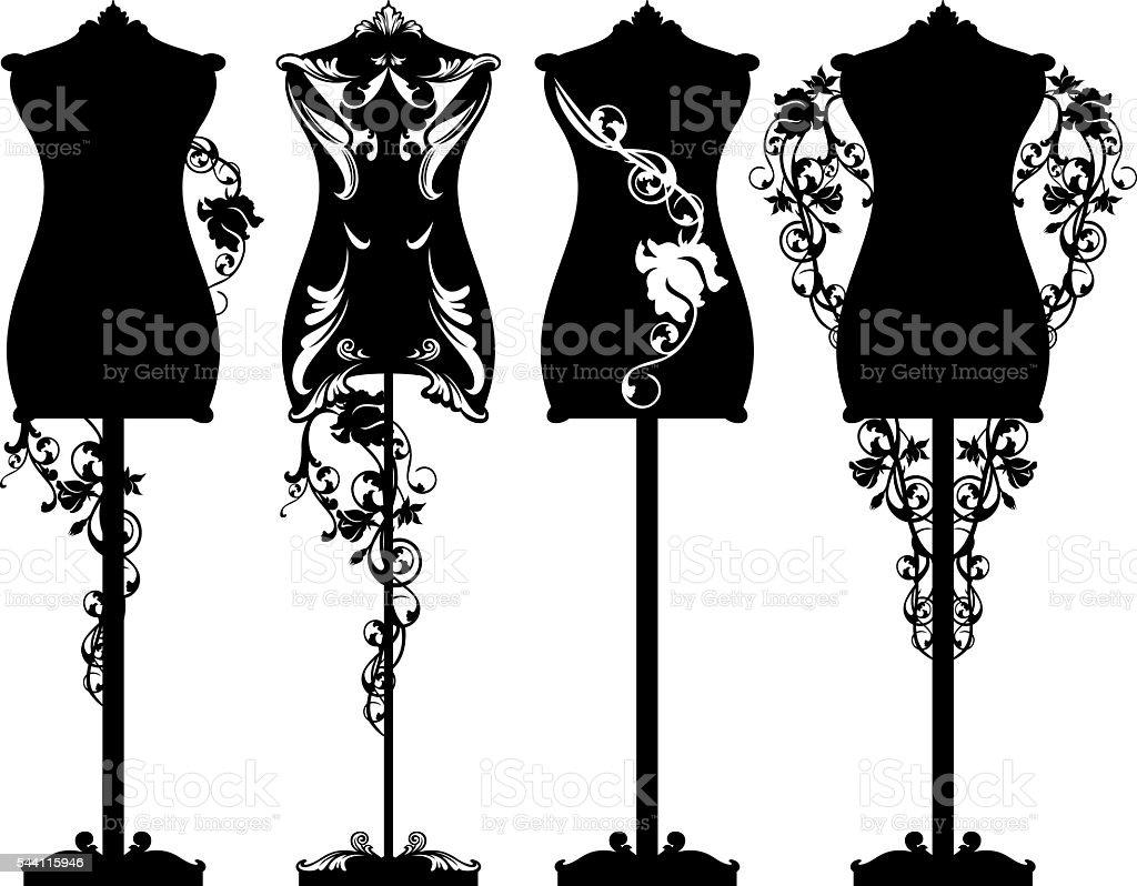 mannequin roses design set vector art illustration