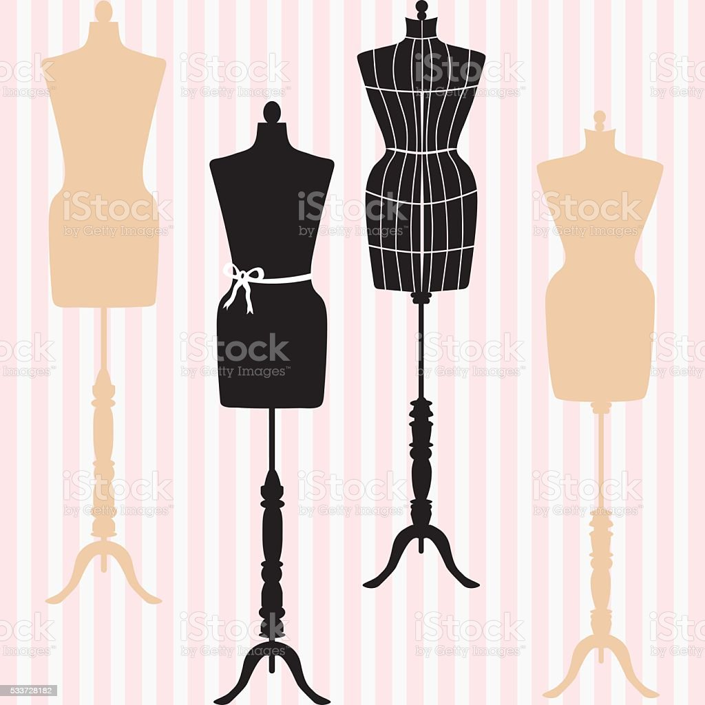 Mannequin Silhouette. Fashion, Dress Form. Tailor's Dummy, Shabby Chic Collection. vector art illustration