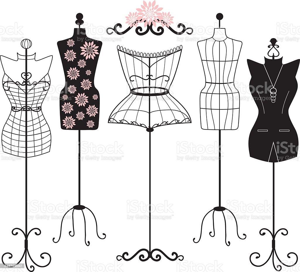 Mannequin Silhouette. Fashion,Shabby Chic, Body,Dress Form.Tailor's Dummy set vector art illustration