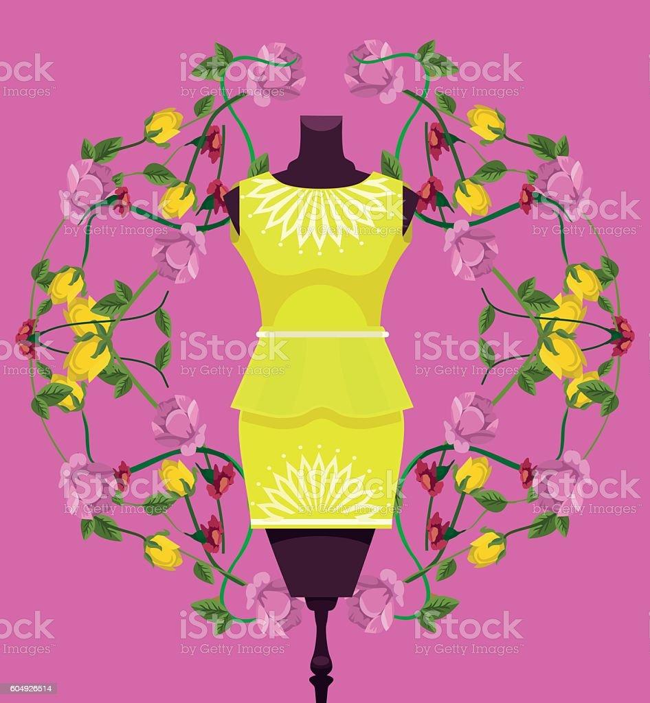 Mannequin with dress. Shop showcase. Vector flat cartoon illustration vector art illustration