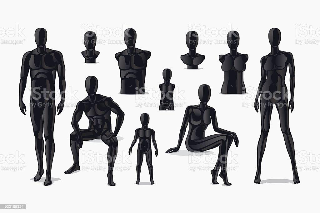 Mannequins vector set vector art illustration