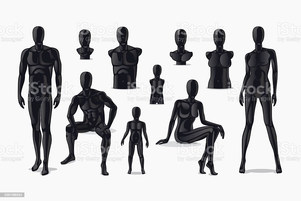 Mannequins vector set vector art illustration