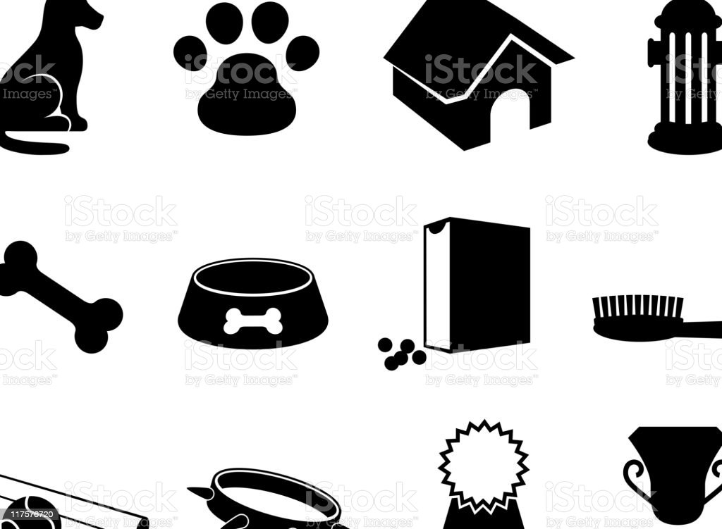 man's best friend black and white vector icon set royalty-free stock vector art