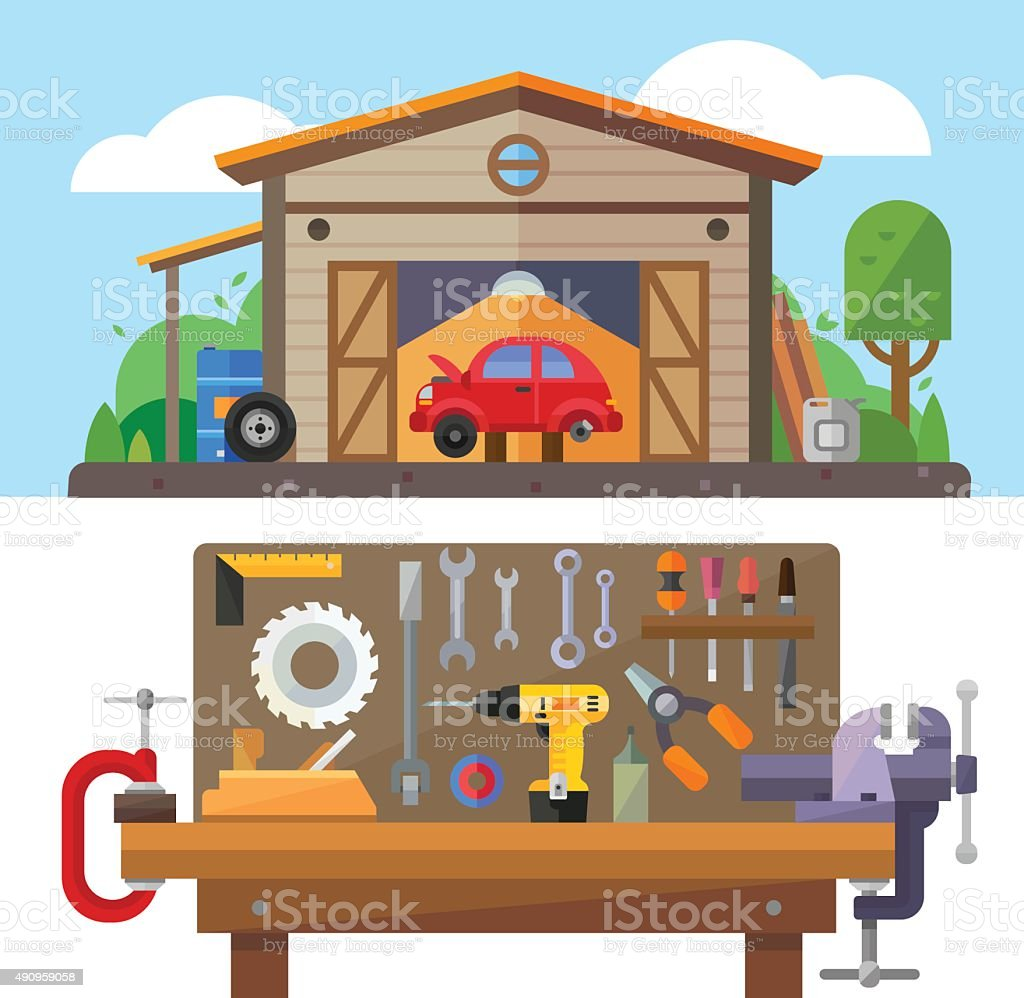 Man's Business Garage and Tools vector art illustration