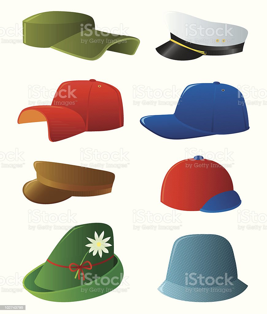 Man's cap set royalty-free stock vector art