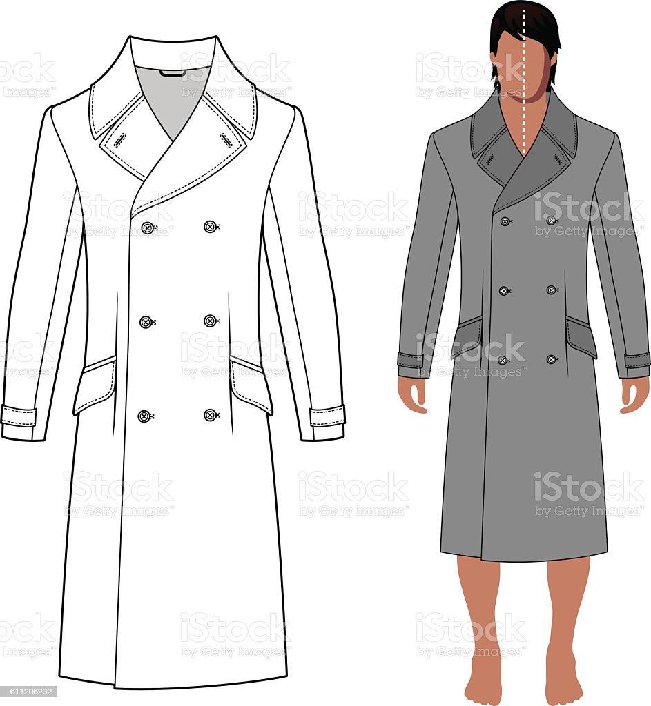 Man's coat (front view) vector art illustration