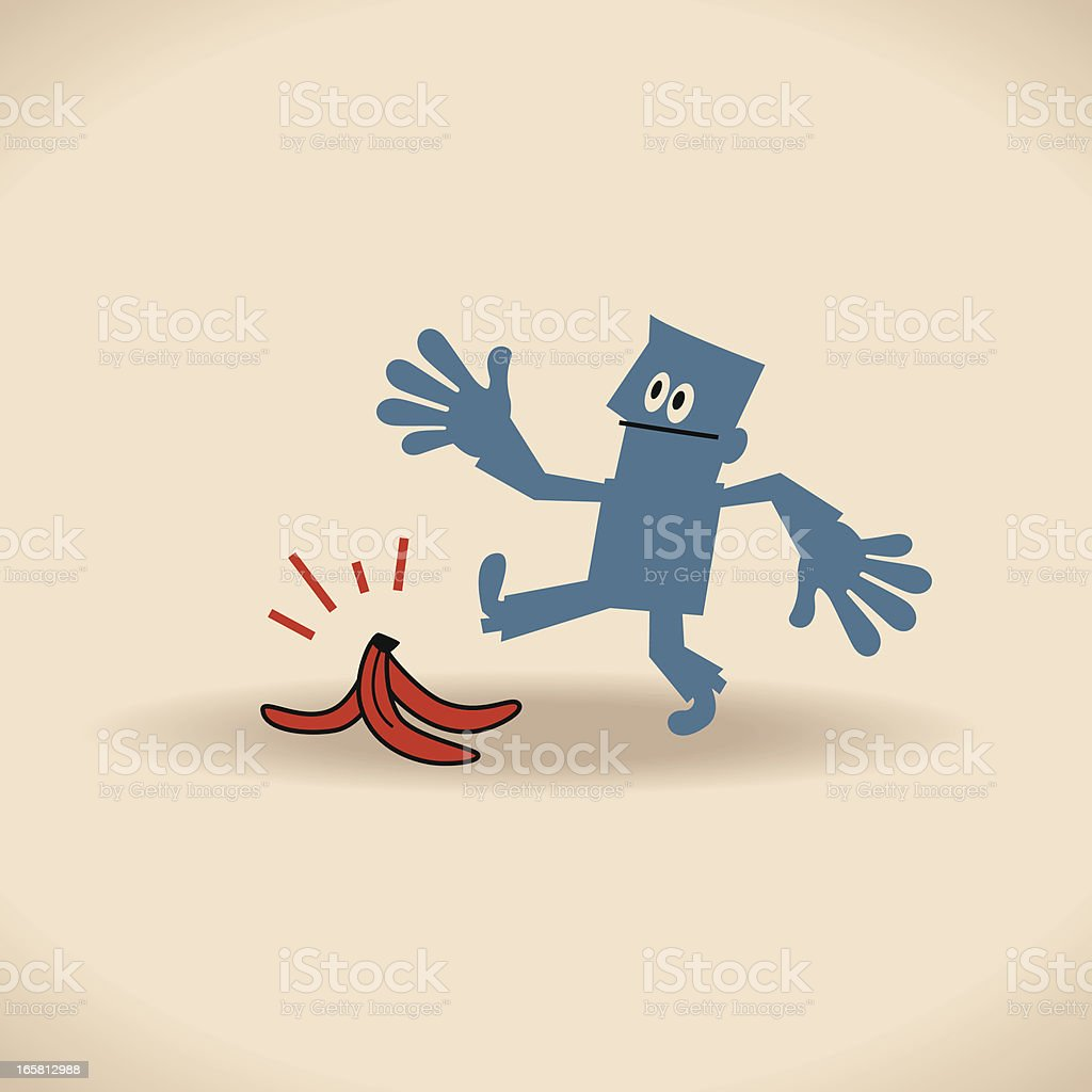 Man's foot about to tread on banana peel royalty-free stock vector art