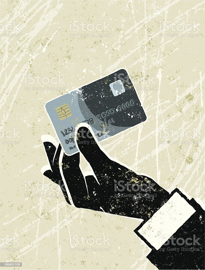 Man's Hand Holding a Credit Card royalty-free stock vector art