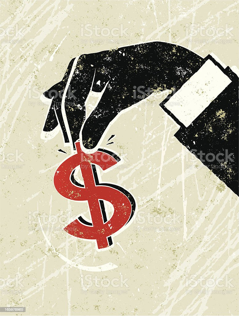 Man's Hand Holding a Dollar Sign royalty-free stock vector art