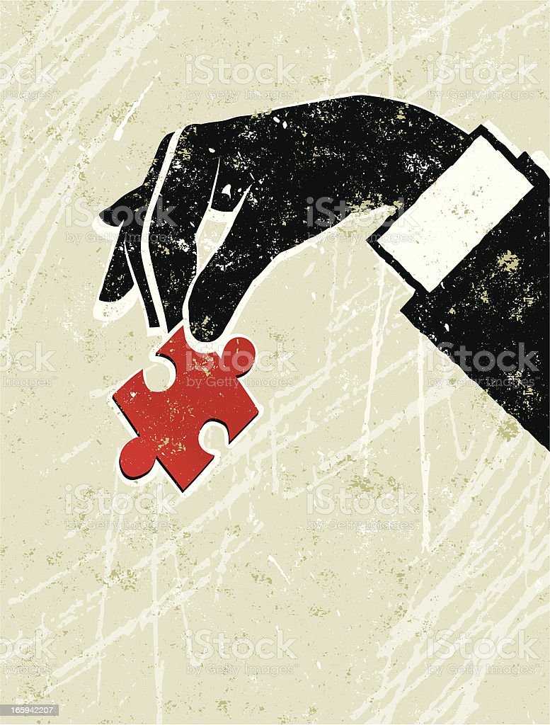 Man's Hand Holding a Jigsaw Puzzle Peice royalty-free stock vector art