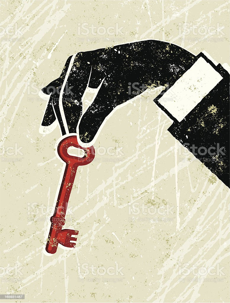 Man's Hand Holding a Key royalty-free stock vector art