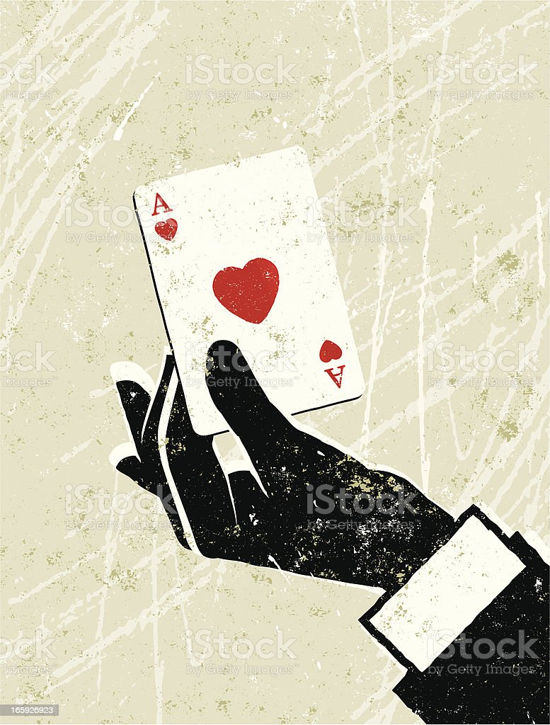 Man's Hand Holding an Ace of Hearts Playing Card royalty-free stock vector art