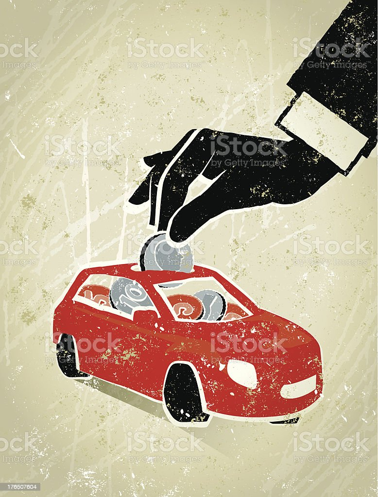 Man's Hand Putting Coin into a Car royalty-free stock vector art