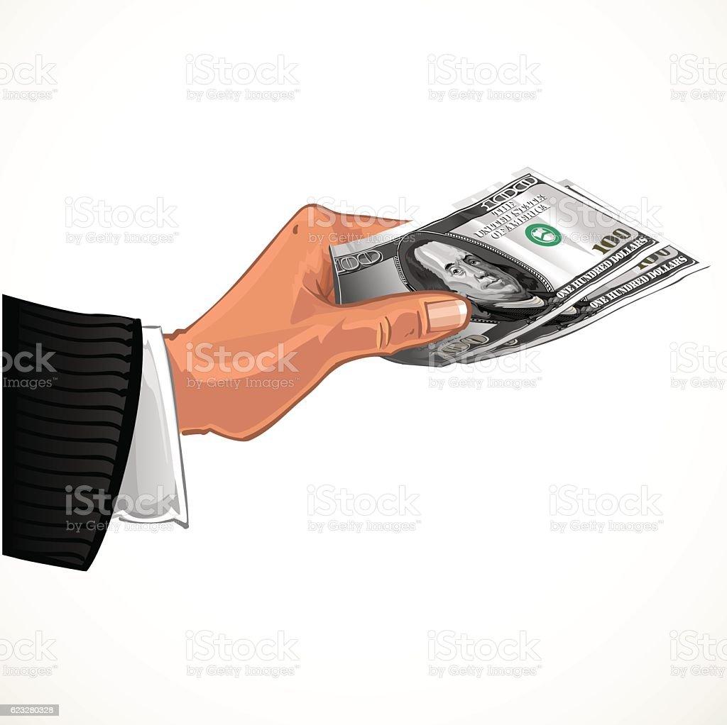 man's hand transferring two hundred dollars vector art illustration