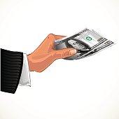 man's hand transferring two hundred dollars