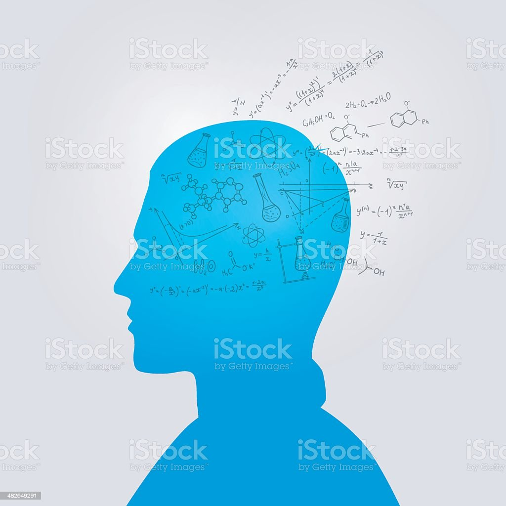 Man's head with education doodle royalty-free stock vector art