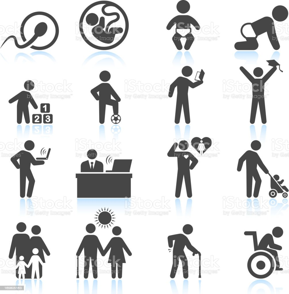 Man's life from childhood to adult and elderly icon set vector art illustration