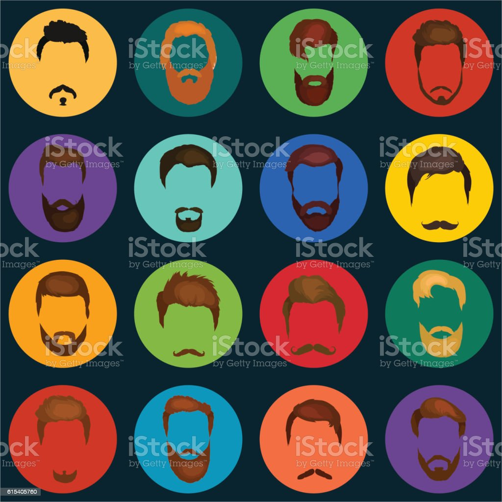 Mans trendy haircut types for barber shop. Isolated collection of vector art illustration