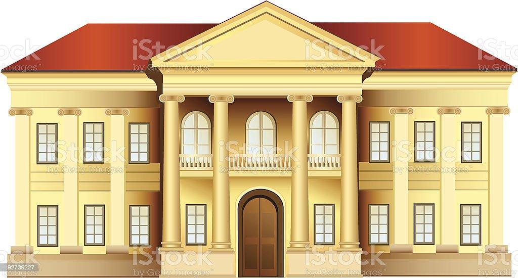 mansion with columns vector art illustration