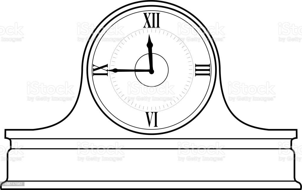 mantel clock vector art illustration