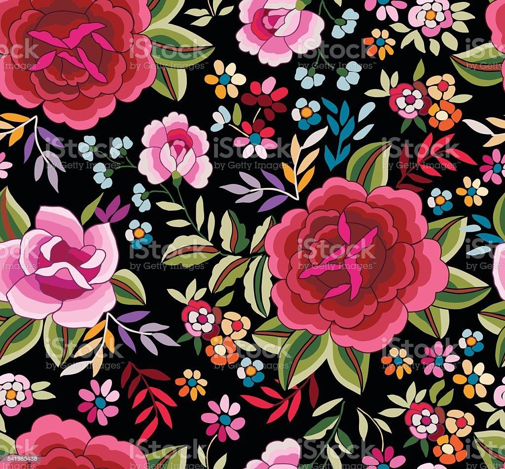 Manton Shawl, Spanish Floral Print ~ seamless background vector art illustration