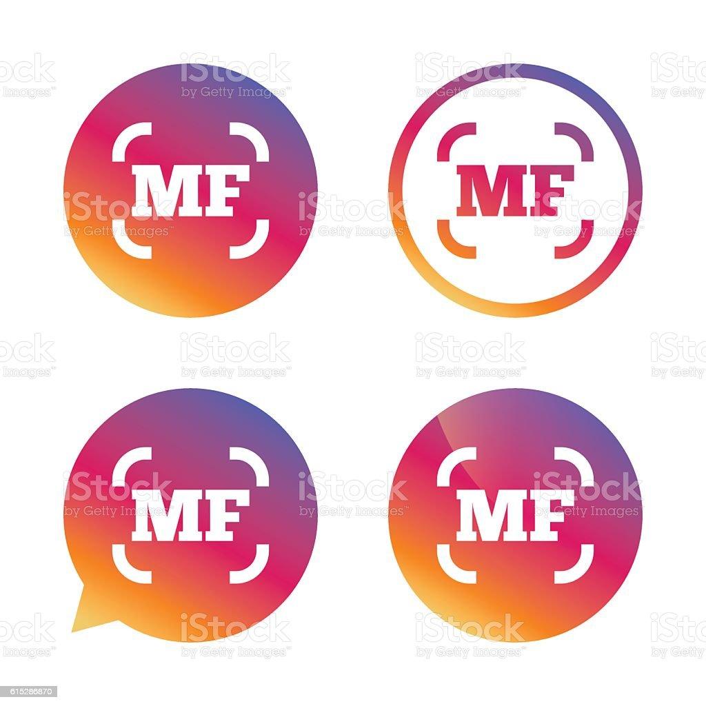 Manual focus photo camera sign icon. MF Settings. vector art illustration
