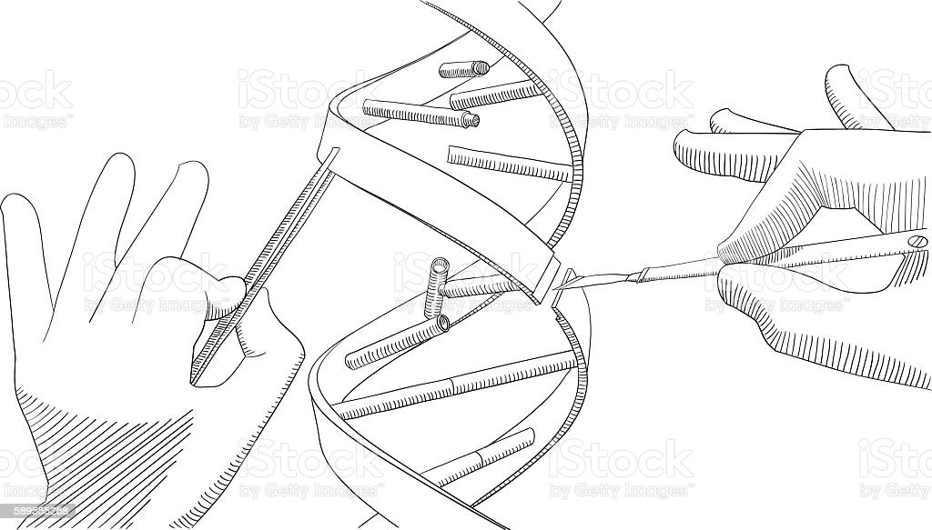 Manual genetic engineering vector art illustration