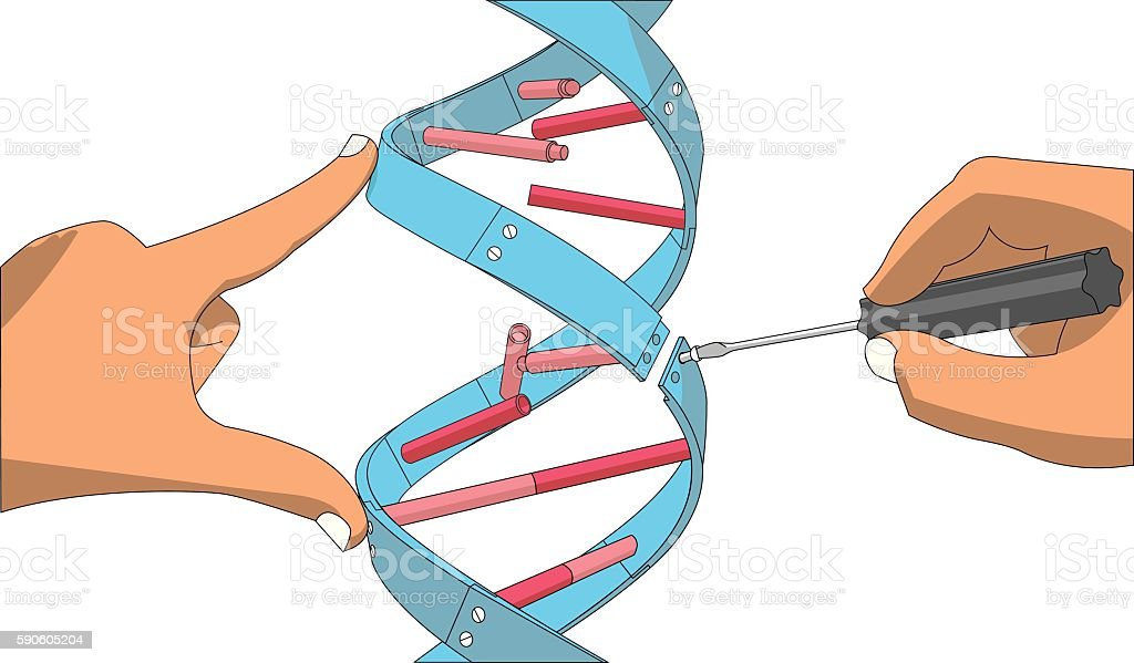 Manual genetic engineering vector art illustration