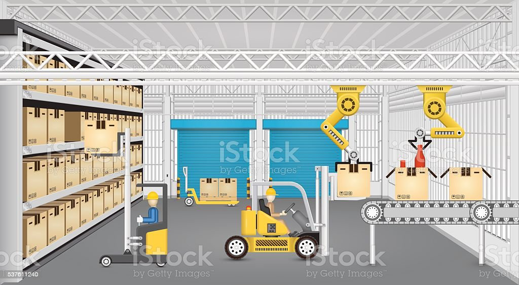 Manufacture and warehouse. vector art illustration
