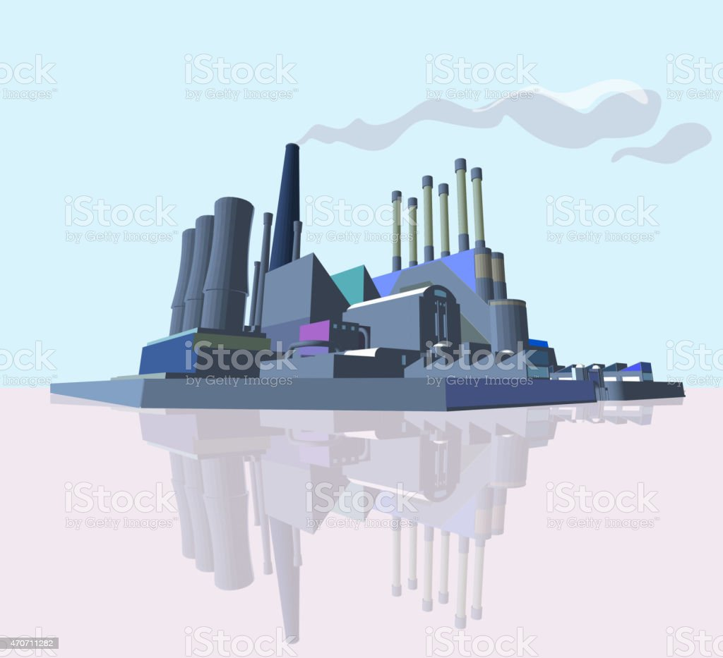 Manufacture Building or Power Plant. 3D Abstract Industrial Factory vector art illustration