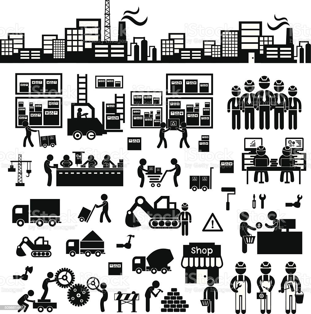 manufacturer and distributor icon vector art illustration