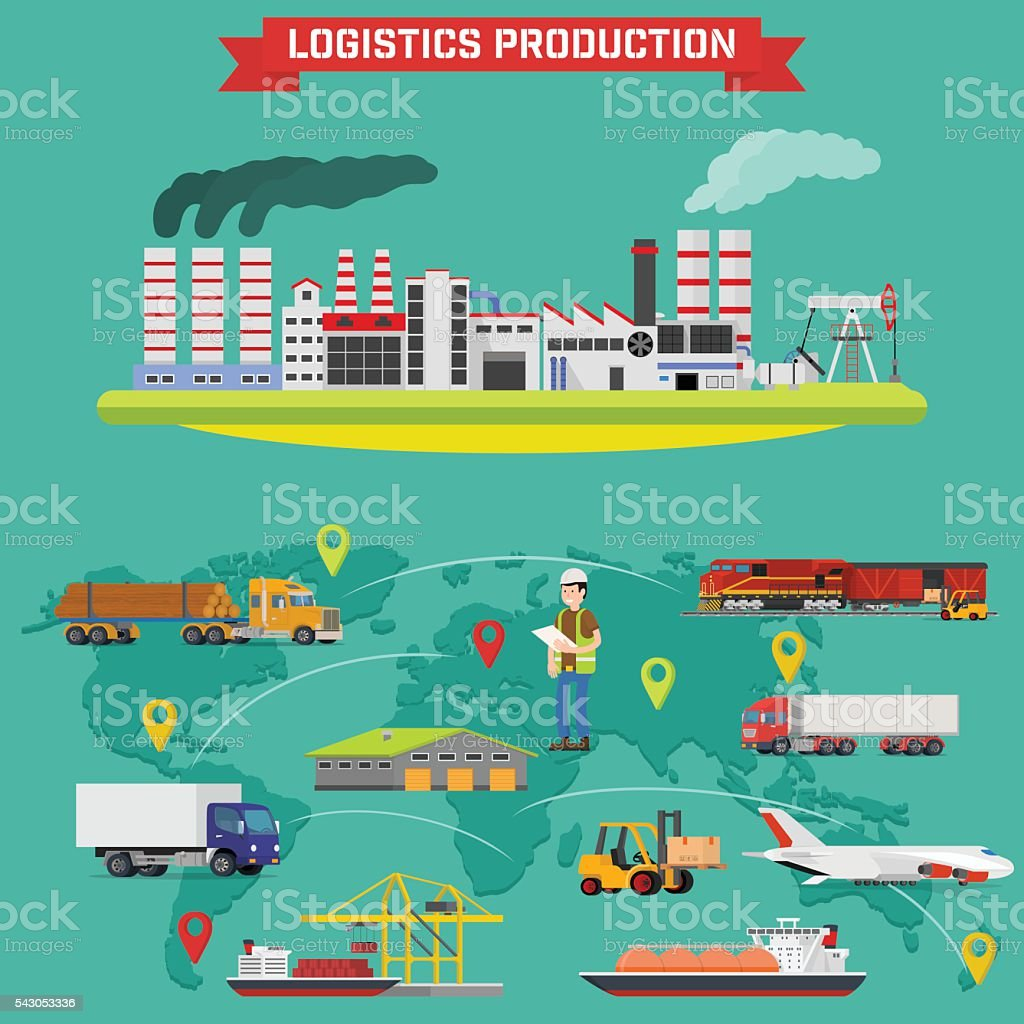 Manufacturing and logistics goods vector art illustration