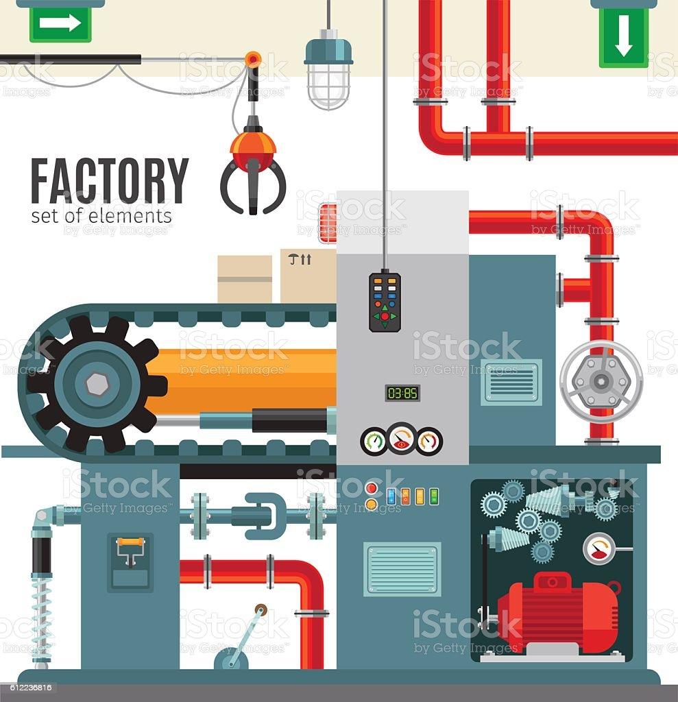 Manufacturing conveyor in flat style vector art illustration