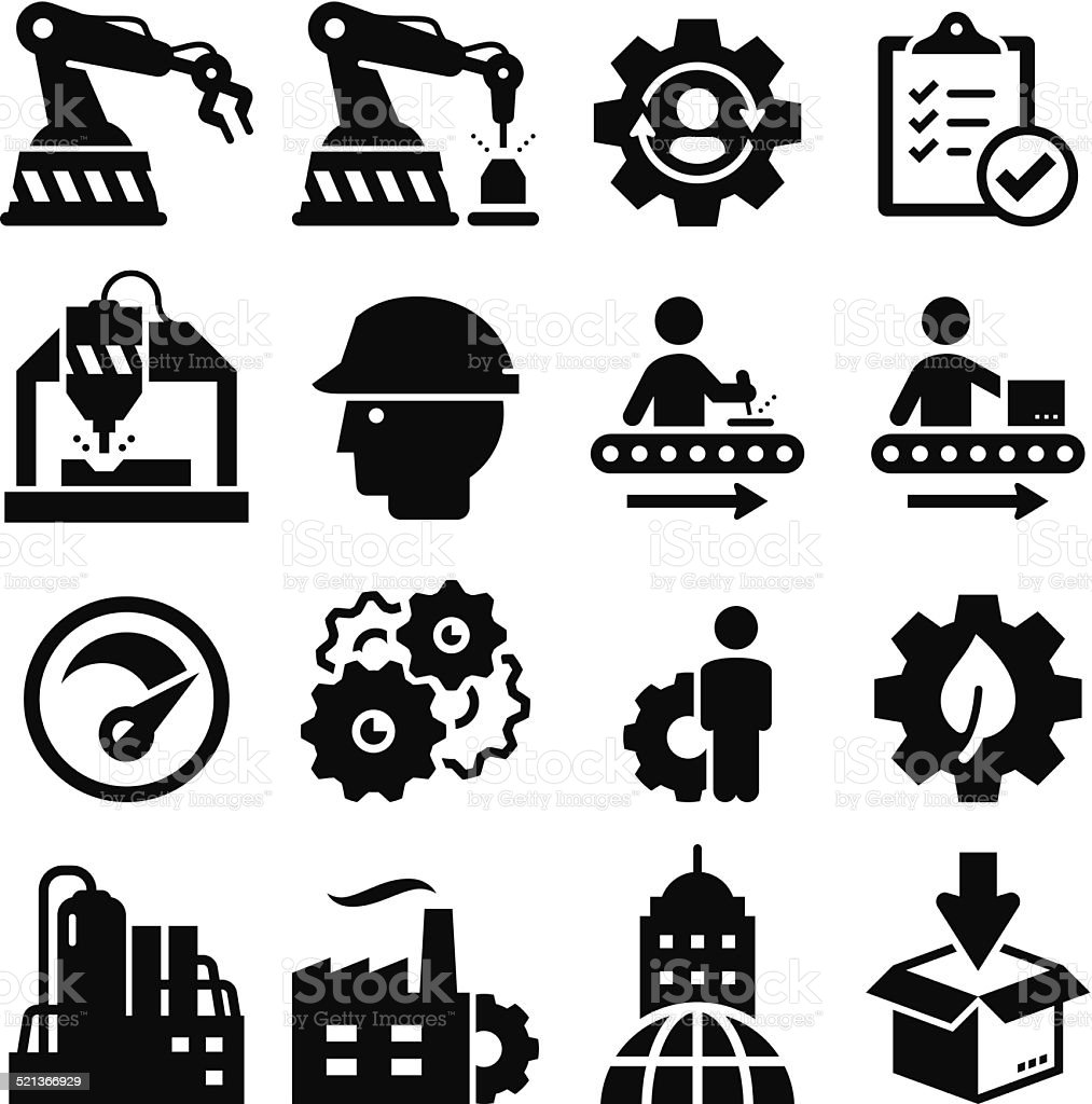 Manufacturing Icons - Black Series vector art illustration