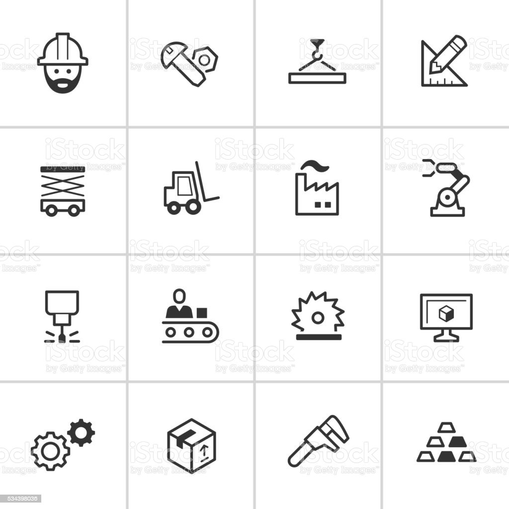 Manufacturing Icons — Inky Series vector art illustration