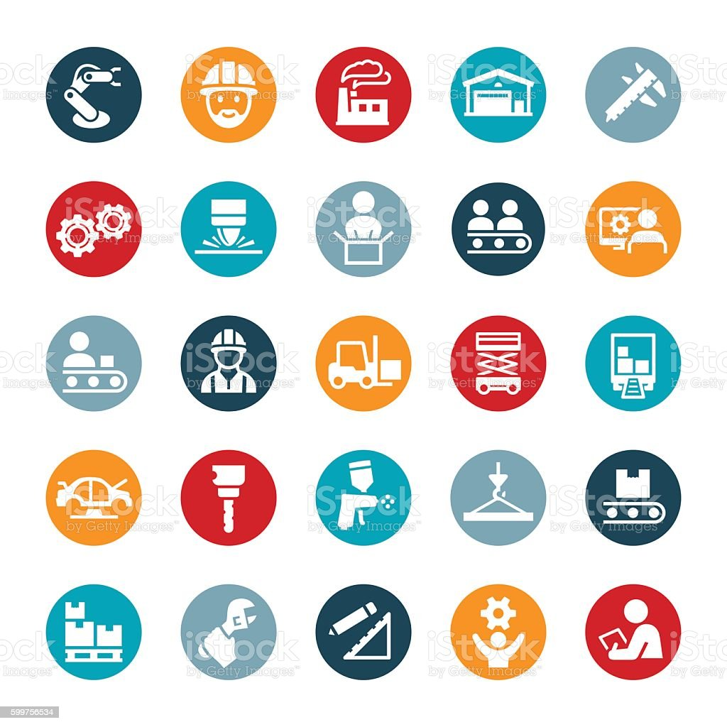 Manufacturing Icons vector art illustration