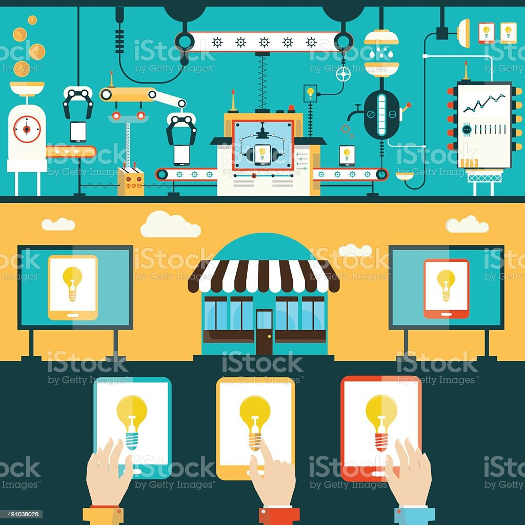 Manufacturing, selling, using tablet personal computer vector art illustration