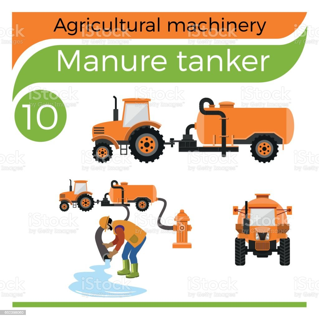 Manure tanker vector art illustration