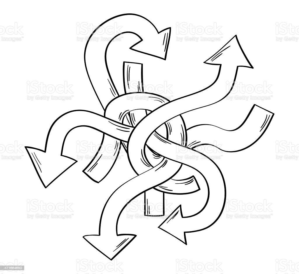 many arrows - many ways vector art illustration