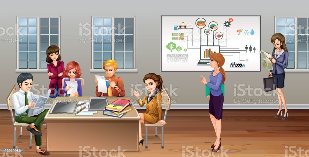 Many business people working in office vector art illustration