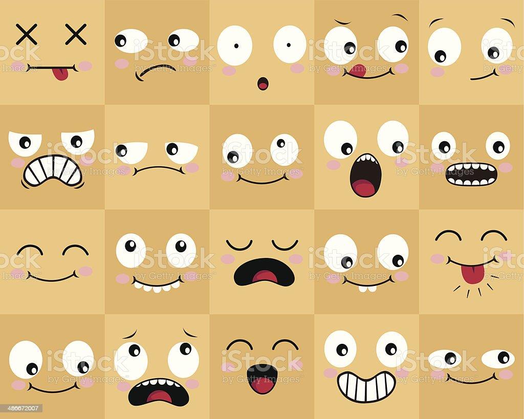 Many Cartoon Faces vector art illustration