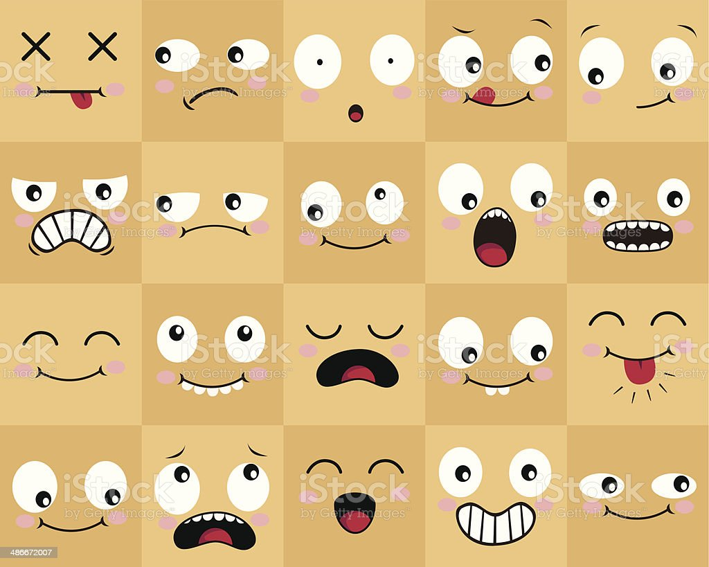 Many Cartoon Faces vector art illustration