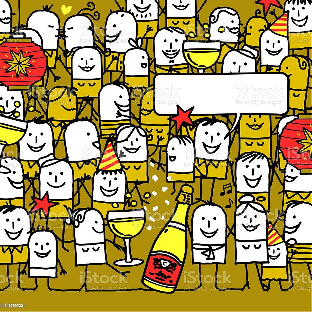 Many cartoon people celebrating New Years vector art illustration