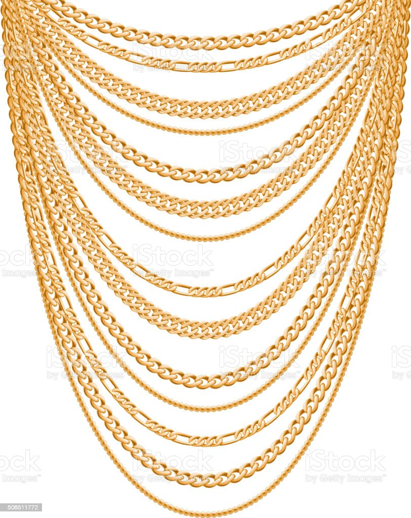 Many chains golden metallic necklace vector art illustration