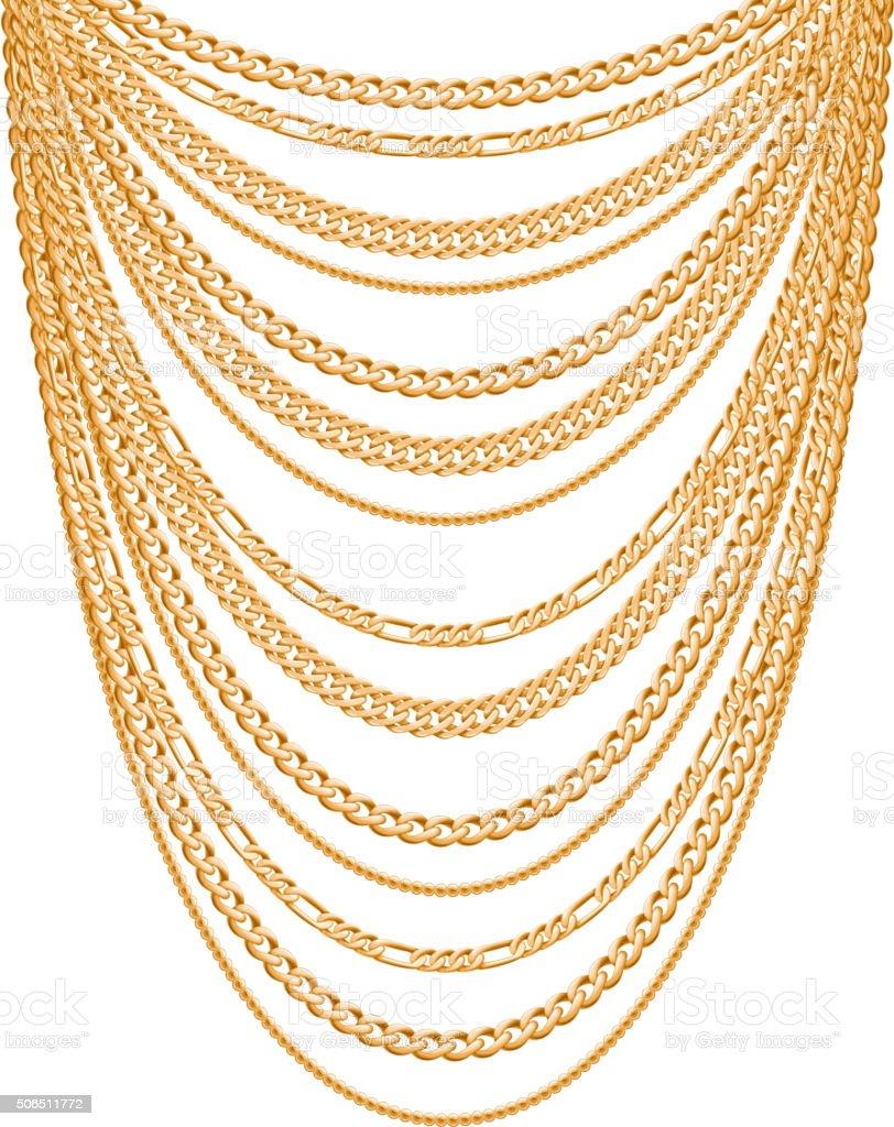 Many chains golden metallic necklace vector art illustration