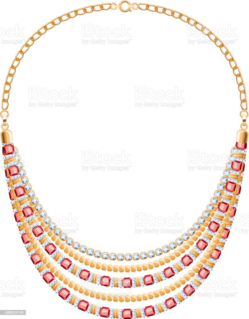 Many chains golden metallic necklace with diamonds and rubies vector art illustration