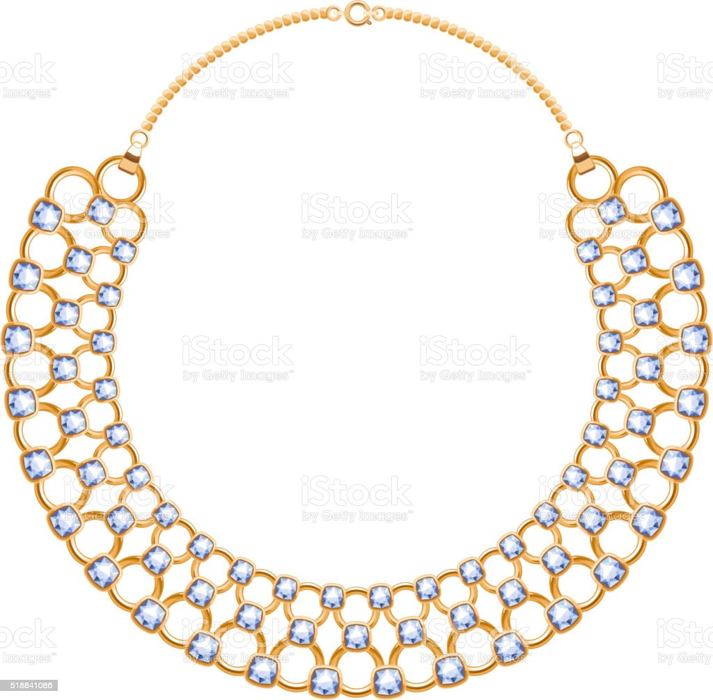 Many chains golden metallic necklace with diamonds vector art illustration