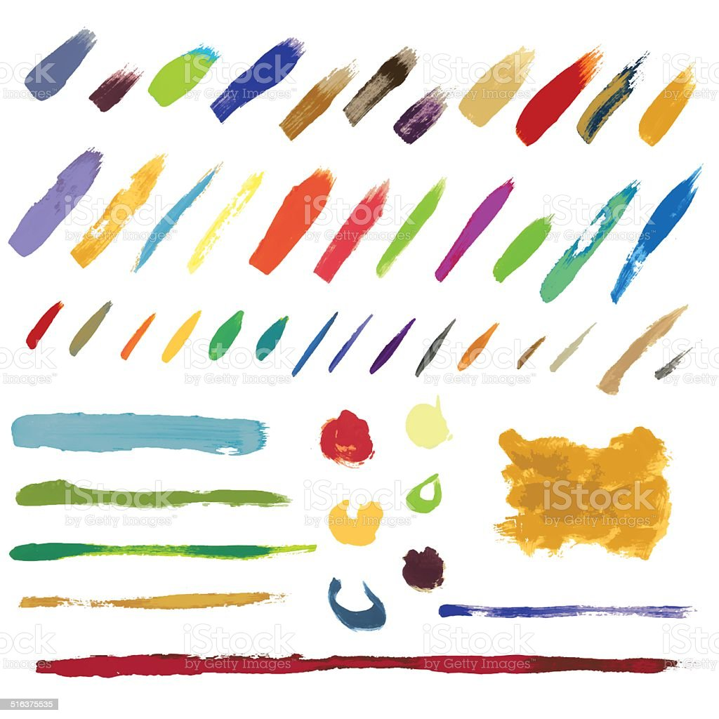 Many colorful brush strokes vector art illustration