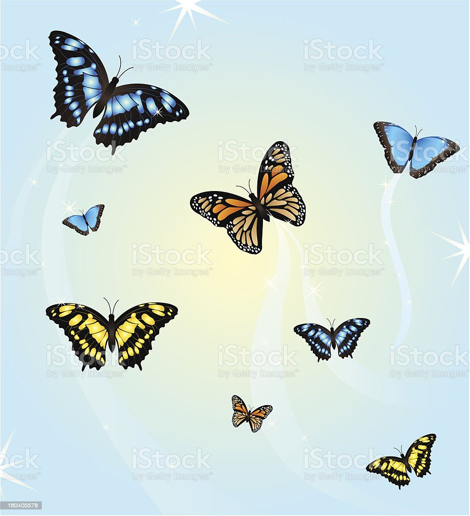 many colorful butterflies flying vector royalty-free stock vector art