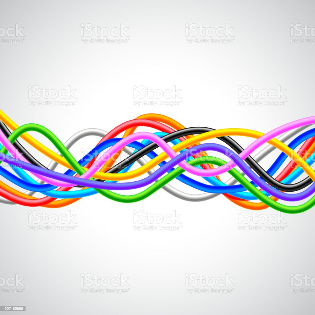 Many colorful cables horizontal wave on white background vector art illustration